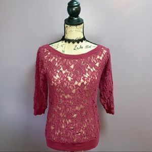 ❤️Wine colored lace EXPRESS sweater❤️